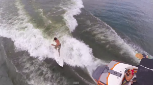 Wakeboarding and Wakesurfing from an Aerial view