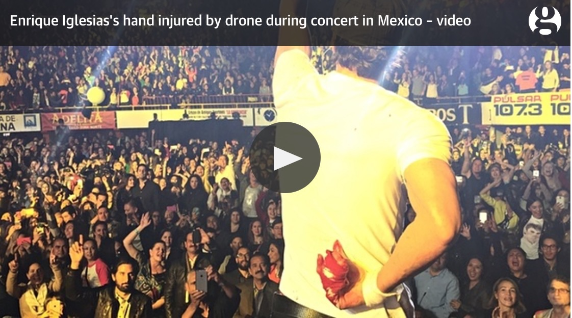 VIDEO: Singer, Enrique Iglesias, Injures Hand On Drone During Concert