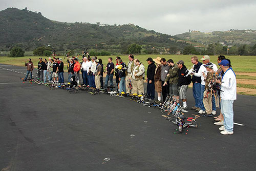 Figure 3. Many pilots with their multirotor machines at the first annual Multirotor Challenge.