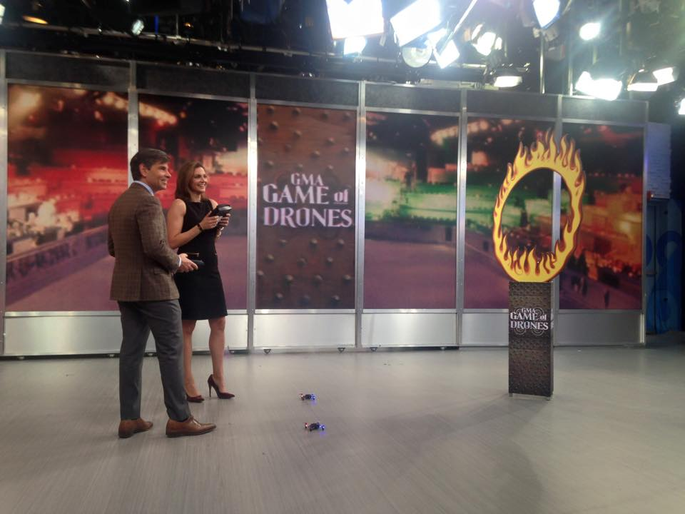 Good Morning America Anchor George Stephanopoulos and Correspondent Paula Faris fly the Proto-X FPV in the studio