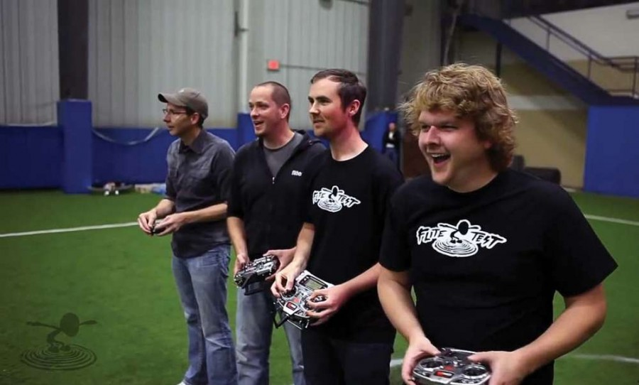 The FliteTest guys are having a blast flying the Blade Nano QX. From left to right: Chad Kapper, Josh Bixler, David Windestal and Alex Zvada.