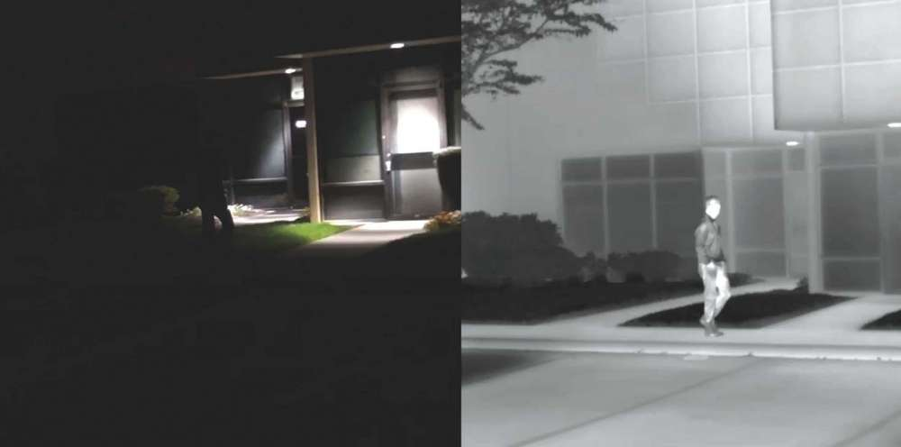 Although thermal imaging works equally well day or night, it is occasionally confused with night vision tech- nology — and it can make objects, especially people, easier to identify in low-light environments. The image on the left was captured with a conventional, visible-light camera, approximating the human eye. On the right, the same scene is viewed through a FLIR thermal imaging camera.